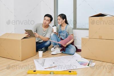 Man sharing design ideas with girlfriend