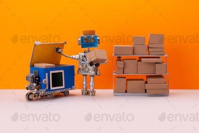 Steampunk robotic storekeeper uploads parcels into an autonomous delivery robot courier.