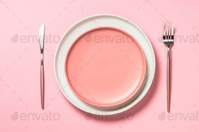Table setting on pink top view