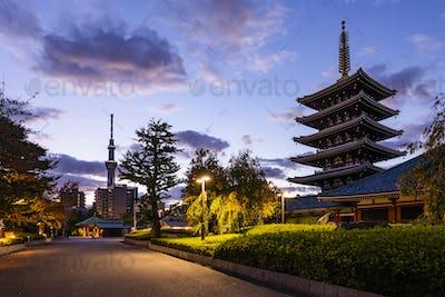 Tokyo - Sensoji-ji, Temple in Asakusa at sunset, Japan