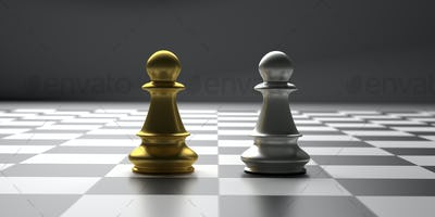 Chess pawns gold and silver color standing on a checkerboard. 3d illustration