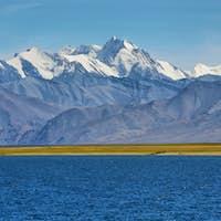 Himalayan lake Tso Moriri in the afternoon. Korzok, Ladakh, India