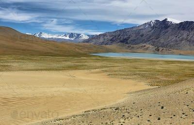 Reflection of Moriri lake (Mountain lake) in Ladakh, India