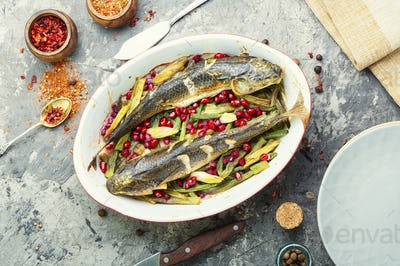Baked fish with pomegranate