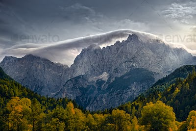 Mountain range landscape view near Lake Jasna, Triglav NP, Slovenia