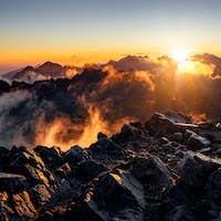 Sun rising over the beautiful mountains in High Tatras, Slovakia