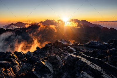 Sun rising over the beautiful mountains in High Tatras, Slovakia