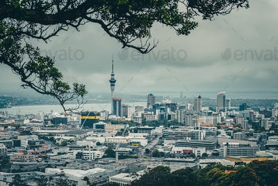 Auckland, New Zealand, 28 December 2016: Auckland skyline in during cludy day, New Zealand