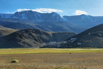 The small village of Korzok on the Tso Moriri Lake, Ladakh, India