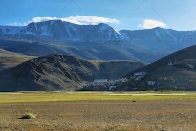 The small village of Korzok on the Tso Moriri Lake, Ladakh, India
