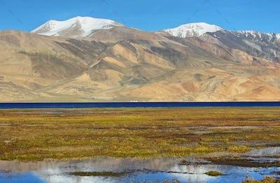 Reflection of Tso Moriri lake in Rupshu valley, Ladakh, India