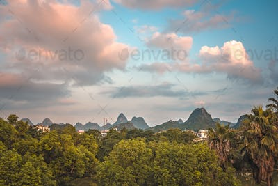 Summer landscape of Guilin town