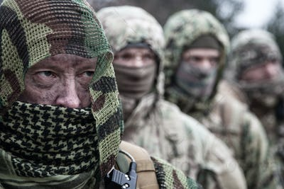 Army elite forces tactical soldiers group portrait