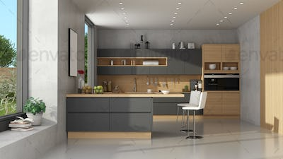 Modern black and wooden kitchen