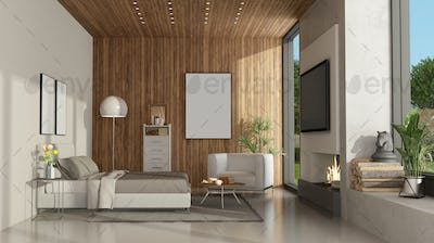White and wooden minimalist master bedroom with fireplace