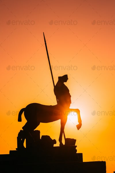 Pompeii, Italy. Statue Of Centaur On Territory Of Forum On Background Sunset Sunrise Sky