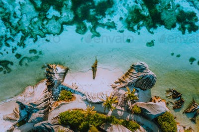 Aerial photo of coastline shape of beautiful famous paradise tropical beach Anse Source D Argent at