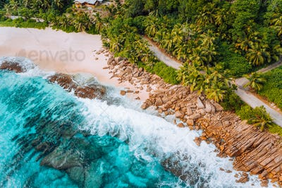 Aerial photo of bizarre paradise tropical beach at Seychelles. Summer vacation, travel and lifestyle