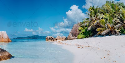 Spectacular Anse Source d'Argent beach on island La Digue in Seychelles. Paradise relaxation