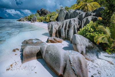 Anse Source d'Argent - Paradise like tropical famous beach on island La Digue in Seychelles