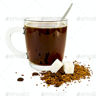 Coffee in a glass mug with sugar