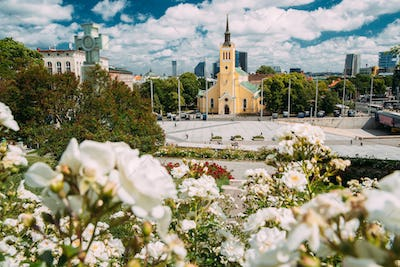 Tallinn, Estonia. Church Of St. John Jaani Kirik At Sunny Summer Day. Large Lutheran Parish Church