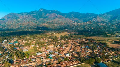 Aerial view of the mount Uluguru in Morogoro.