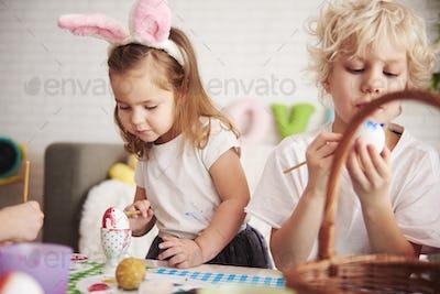 Handmade easter eggs painted by siblings