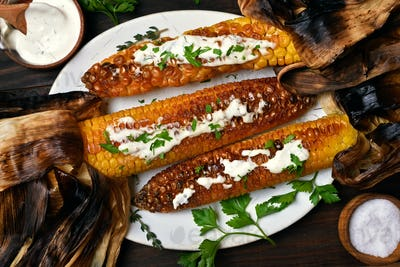Roasted corn, top view