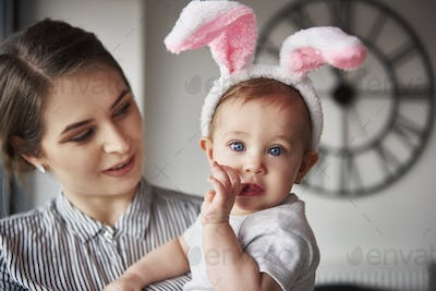Portrait of baby with bunny ears