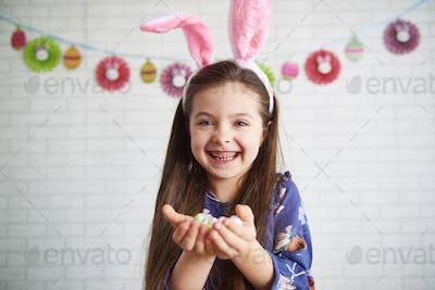 Shot of smiling girl in rabbit Costume