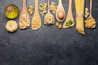 Various pasta in spoons