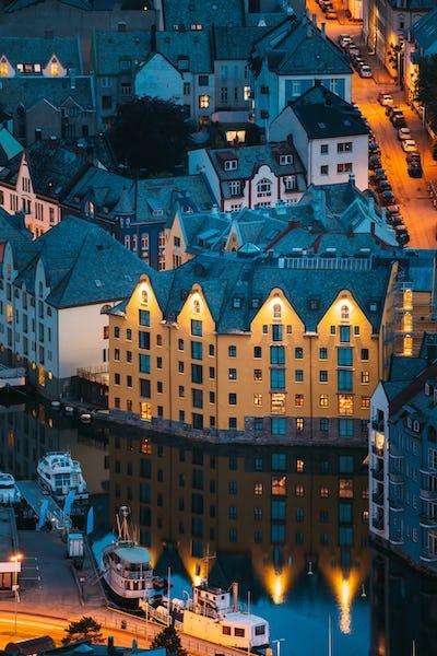 Alesund, Norway. Night View Of Alesund Skyline Cityscape. Historical Center In Summer Evening