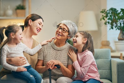 girls, their mother and grandmother