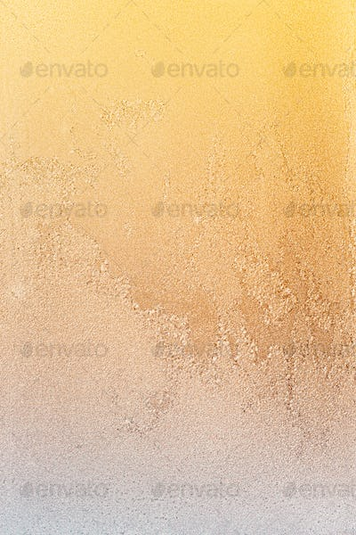 Yellow Frosty Glass Ice Background, Natural Beautiful Frost Ice Pattern In Sunset Light. Winter