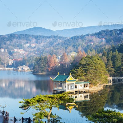 beautiful pavilion in the middle of lake