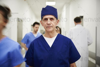 Portrait of male doctor on the corridor