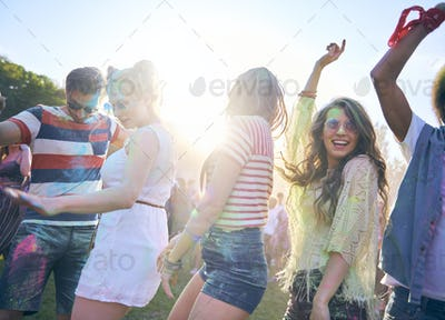 Friends during good party with multi colors