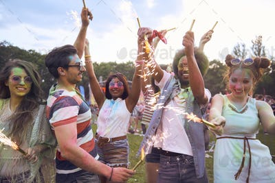 Celebrate the summer day with sparklers on music festival