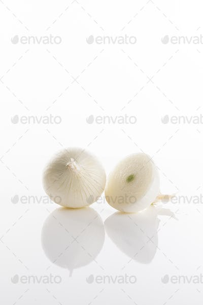 White onions on a white background
