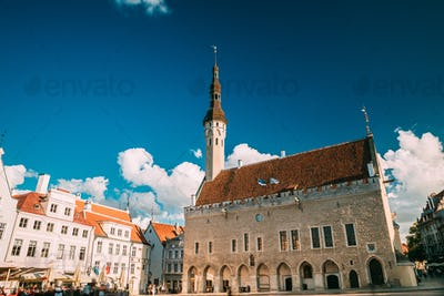 Tallinn, Estonia. Famous Old Traditional Town Hall Square In Sunny Summer Evening. Famous Landmark