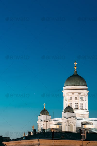 Helsinki, Finland. Senate Square With Lutheran Cathedral And Monument To Russian Emperor Alexander
