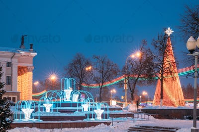 Christmas Tree And Festive Illumination On Lenin Square In Gomel. New Year In Belarus