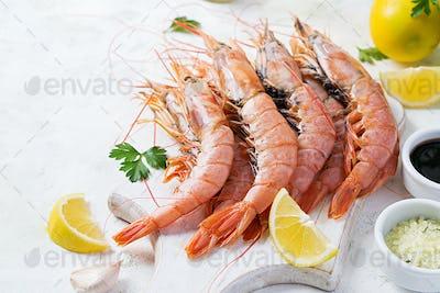 Raw wild Argentinian red shrimps/prawns