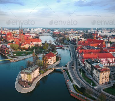View from the height on the historic city center and the Odra River. Stare Myasto, Wroclaw, Poland