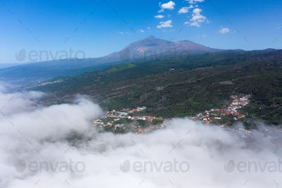 Teide National Park and village, landscape above the clouds. Tenerife, Canary Islands, Spain