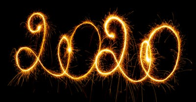 Happy New Year - 2019 with sparklers on black background