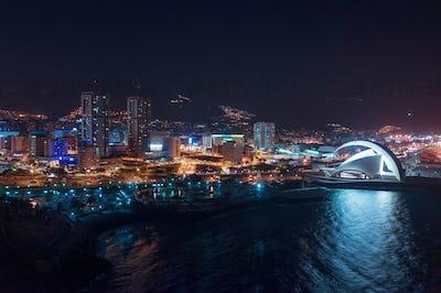 Aerial view of the city of Santa Cruz de Tenerife at night. Tenerife, Canary Islands, Spain