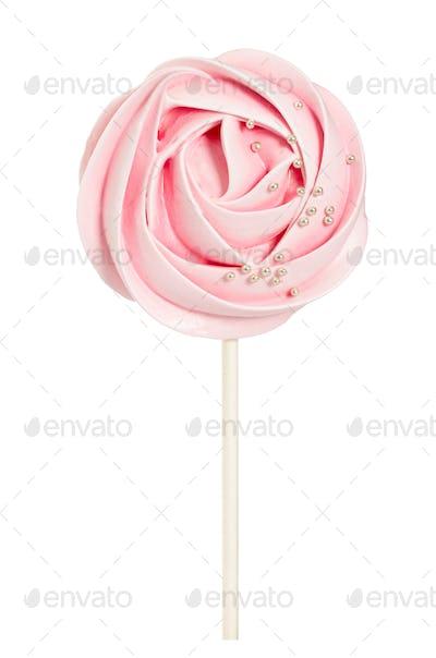 Rose shaped meringue with decorative sprinkle