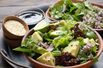 Clay dish with salad of avocado, green and violet lettuce, lamb's lettuce